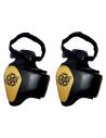 protecctor de piernas para artes marciales de el bronx en color negro y oro
