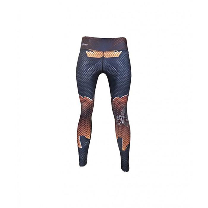 leggings para fitness, color naranja y azul