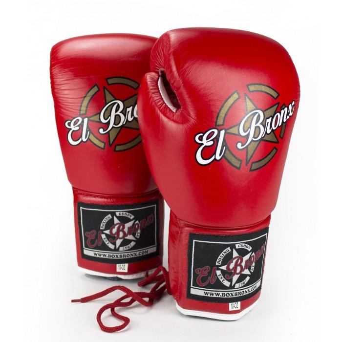 guantes de boxeo de piel, cierre con cuerdas, color rojo