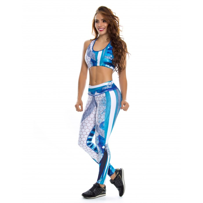 leggings + top deportivo, color azul y blanco