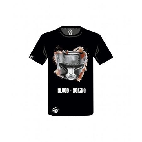 camiseta unisex en color negra una cara de boxeador con casco el bronx