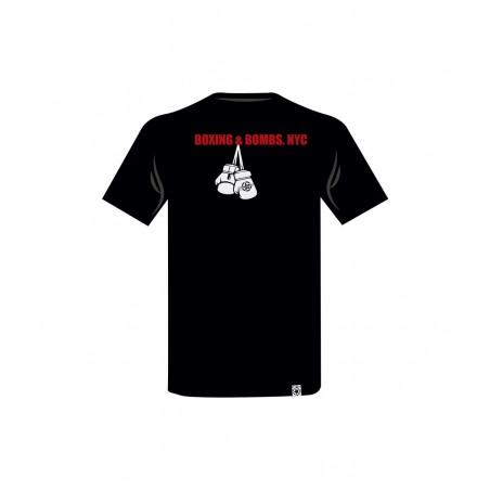 camiseta de algodon en color negro con silueta de un boxeador el bronx